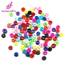 500PCS Random Mixed 2-Holes 6mm Round Resin Mini Flatback Buttons Scrapbooking DIY Button Apparel Sewing Decorative E0415