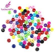 500 pçs aleatório misturado 2 furos 6mm redonda resina mini flatback botões scrapbooking diy botão vestuário costura decorativa e0415