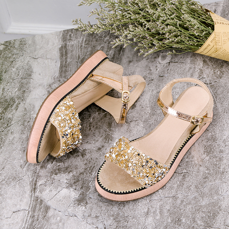 Plate Sandales Chaussures 39 Bling D'été Taille Grand 2018 Xwz5238 Gladiateur Vintage Hee Femmes Femme forme De 35 Beige black Plage Wedge AqYPxvw