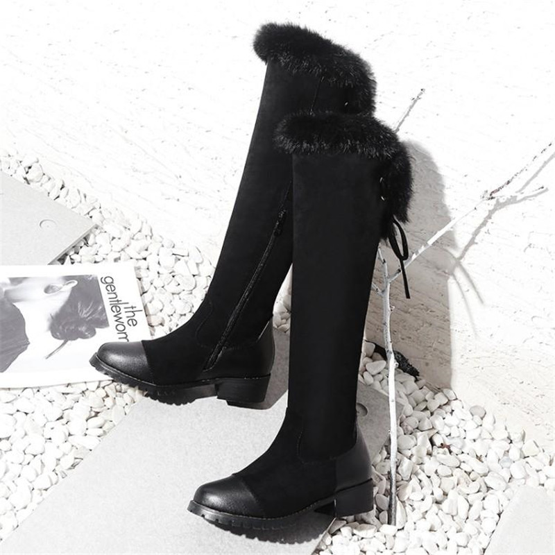 Women\`s Thigh High Boots Autumn Winter Slim Long Tube Over the Knee Boot Big Size 33-43 Female Snow Boots Black Brown Lady Shoe (14)