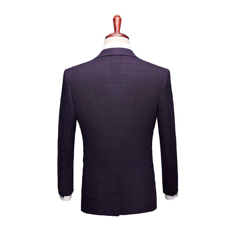 (ジャケット + ベスト + パンツ) 2018 新スタイルの高品質男性クラシックカジュアルビジネススーツメンズチェック柄ウールウェディング