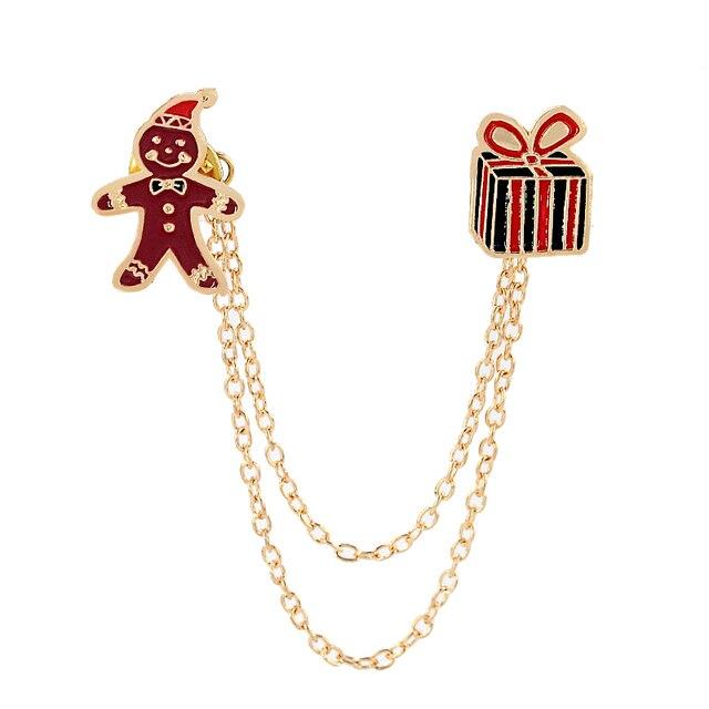 Feliz oro color esmalte Navidad cosas doble caja GIF cadena redonda ...