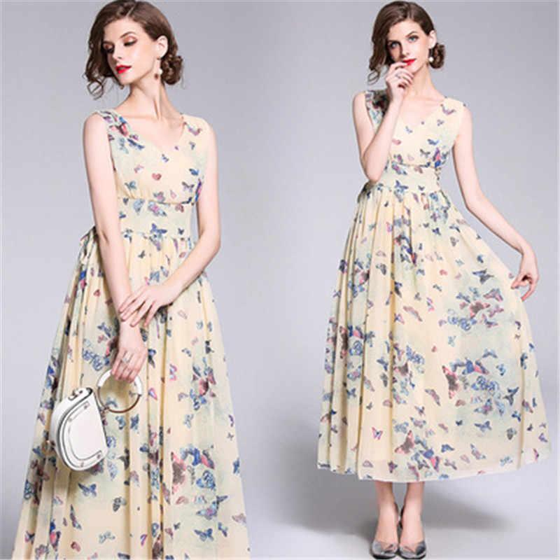 395a992fec99 Summer Bohemian Sleeveless Dresses Ladies Chiffon Dress Floral V-neck Ankle-Length  Women Dress