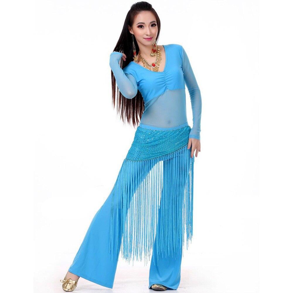 Břišní taneční kostým 3 kusy (horní + pas a ručník + kalhoty) Břišní taneční oblečení Bellydance 10 barev oblečení pro taneční indické šaty