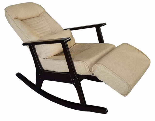 Gentil Wooden Rocking Recliner For Elderly People Japanese Style Recliner Chair  With Foot Stool Armrest Modern Wooden