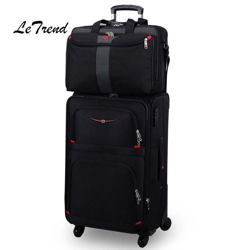 Letrend Business Rolling Luggage Spinner Set Travel Bag Trolley Men Oxford 20 inch Student Carry On Wheel Suitcase Laptop Bag