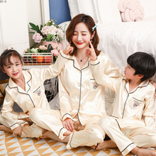 Pajamas Set for Family Silk Long Sleeve Cartoon Mommy and Me Clothes Cute Mom Son Matching Outfits Baby Girls Pyjamas