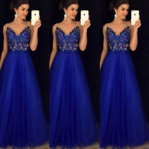 Summer Dress Sequins Ball-Gown Lace Bridesmaid Wedding Formal Party Long Women Sleeveless