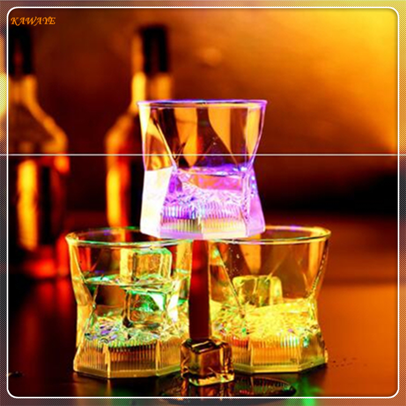 1pcs Creative LED Inductive Crystal Whiskey Glass Cup Rainbow Party Flashing Light Whisky Wine Mug Beer Cup Decor 5ZDZ444