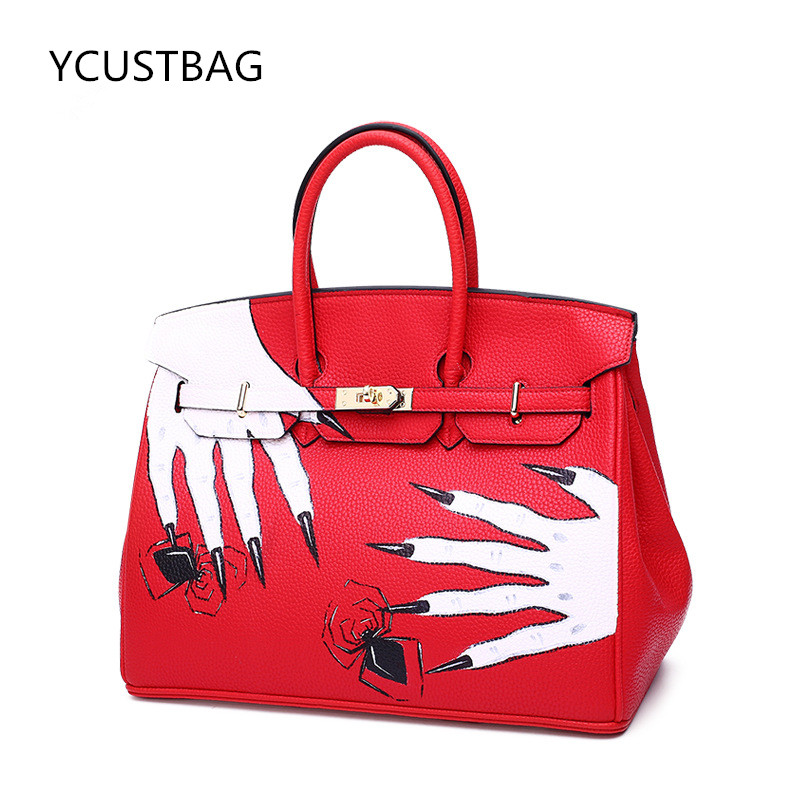 2017 Graffiti Painting Skull Hand Vintage Litchi Stria Anti Theft Bag Black Genuine Leather High Quality Women Top-handle bags gothic skull hand pu leather bracelet black silver