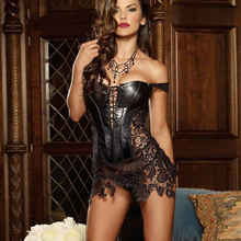 S-6XL Plus Size Corset Women Faux Leather Lace Steampunk Corset Dress Gothic Bustier Corset Sexy Corsets Bustiers lover costume