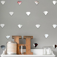 12pcs Cartoon Diamond Pattern Mirror Sticker Kids Room Bedroom Living Room Study room Birthday Party Decorative Wall Stickers