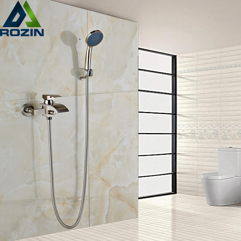 Brand New Bathroom Shower Faucet Single Handle Simple Handheld Waterfall Bath Shower Mixer Taps Brushed Nickel Finish издательство аст агентство острый нюх по следам преступлений