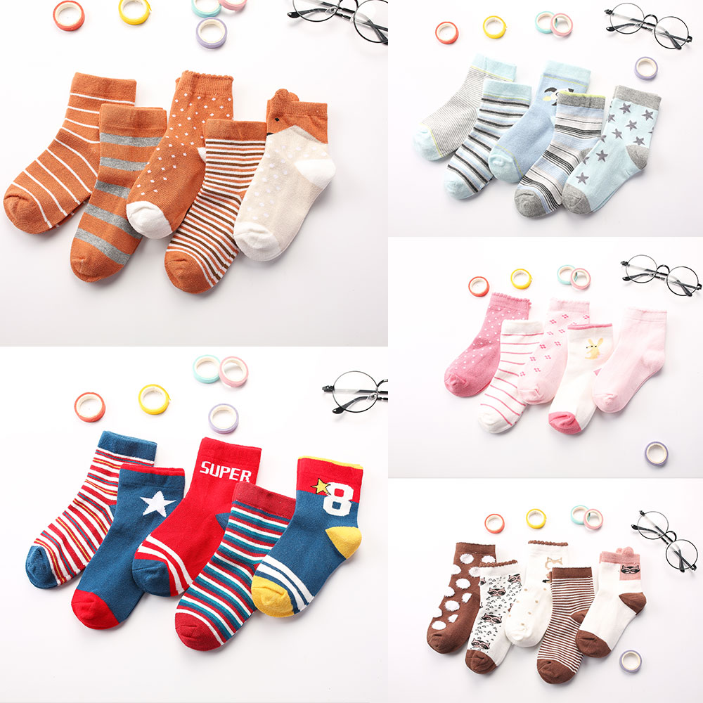 5 Pair Baby Socks Cartoon Warm Autumn Winter Girl  Stripe Cotton Socks Type 5 M Boy Socks For Children Kid To School Sport