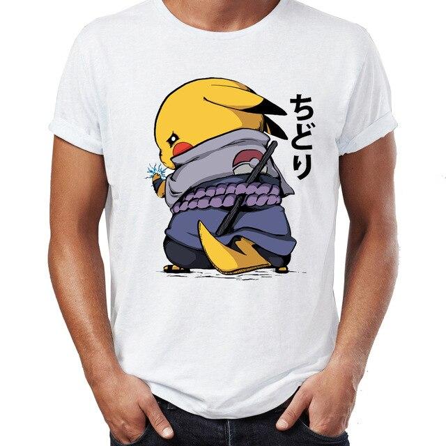 Camiseta De Los Hombres Chidori Sasuke Naruto Pikachu Pokemon