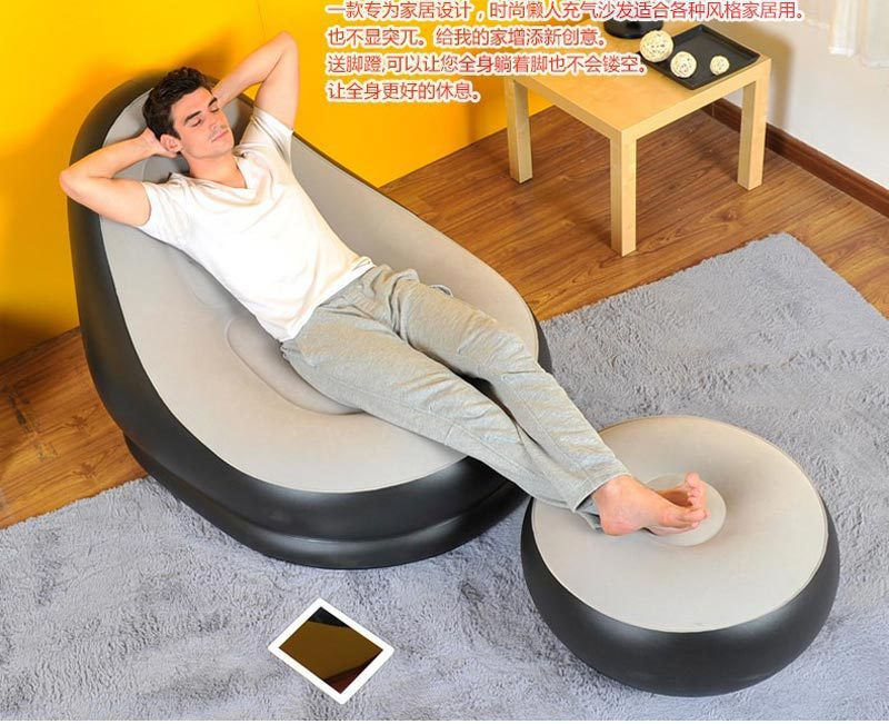 Inflatable sofa 037225 lounge chair air sofa foot rest for 8 foot couch