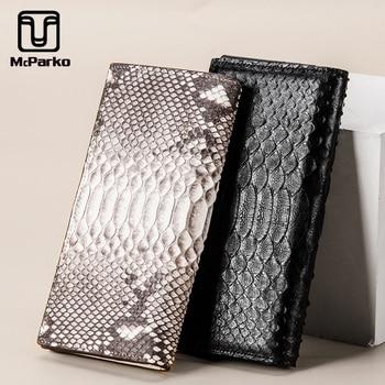 McParko Woman Wallet Long Genuine Leather Snakeskin Long Wallet Female Luxury Real Python Leather Card Holder Wallet Women Black