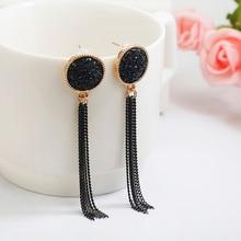 Nuevos pendientes de gota largos de diamantes de imitación negros colgantes chapados en plata dorada para mujeres joyería brincos bijoux