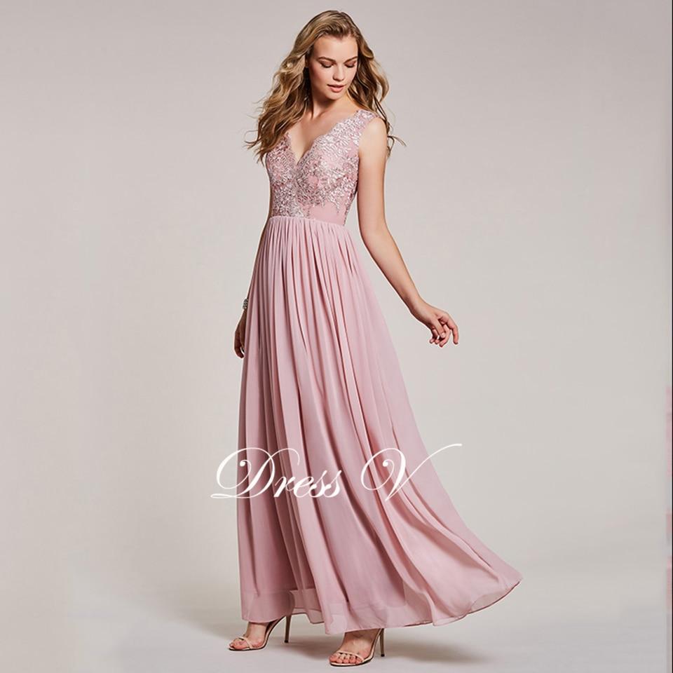 Dressv Peal Pink largo vestido de noche barato V cuello encaje ...