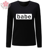 Cherry Blossom Women T Shirt O Neck Long Sleeve T Shirt Babe Letter Print Tshirt Casual