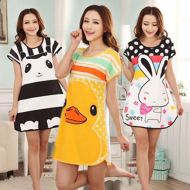 38066c1a2a Cartoon Panda Cat Summer Women plus size t shirt dress long cotton  nightgown Girls nightdress sleepwear Short sleeve sleep dress