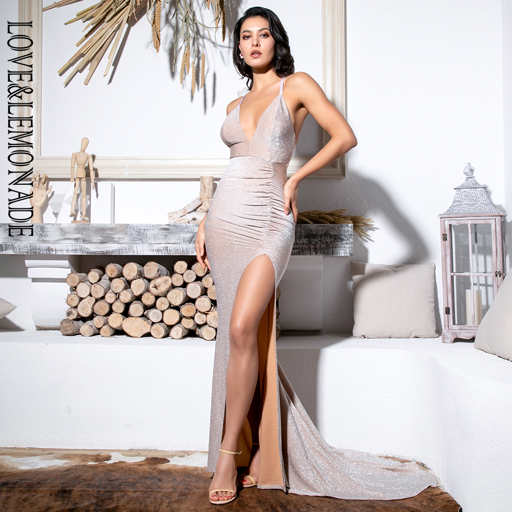 Love&Lemonade Sexy Nude Deep V-Neck Cut Out Bodycon Shiny Elastic Fabric Maxi Dress LM81709-1