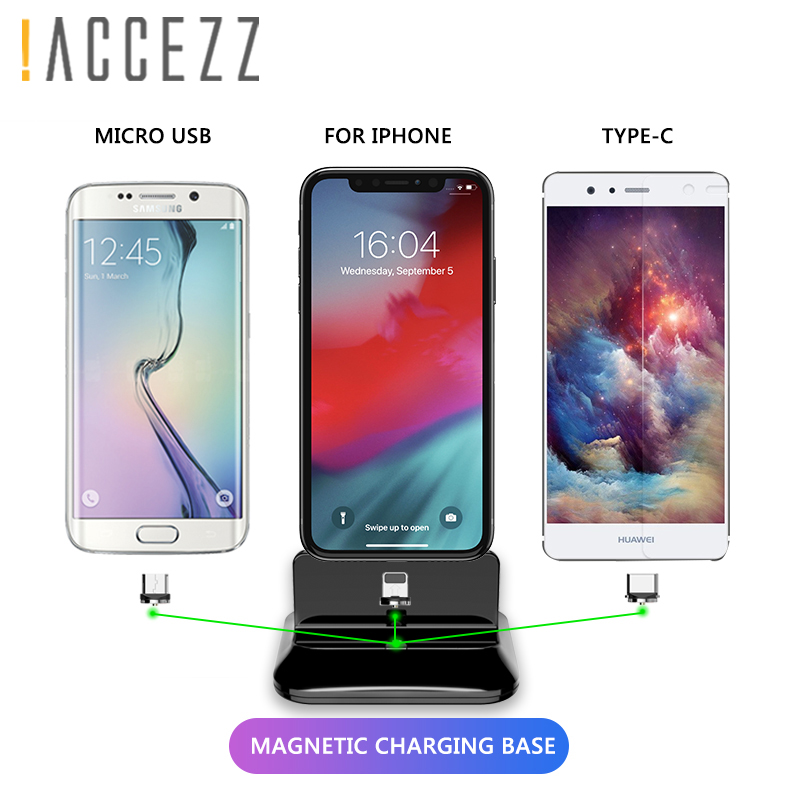 ACCEZZ 2 In 1 Phone Stand Holder Magnetic Charger For Iphone 8 X Plus Universal Type-C Micro USB 8 Pin Desktop Charge For Xiaomi