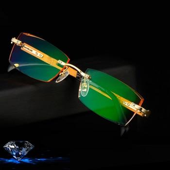 Titanium+Bamboo Frame Eyeglasses Rimless Men Gold Wood Glasses Frame Prescription Myopic Glasses Ti Anti-Reflection Lens Glasses
