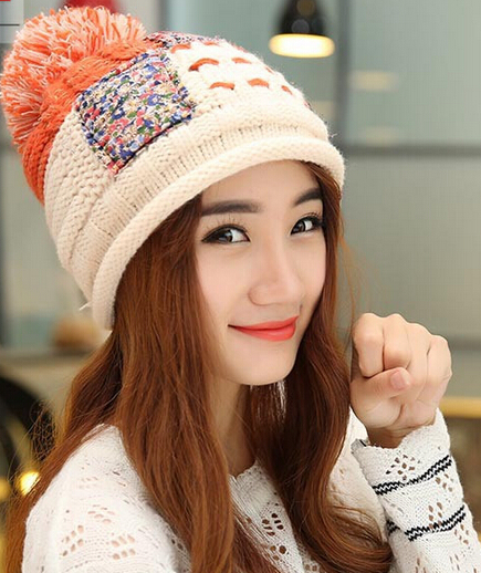 BomHCS Autumn Winter Warm Ear Muff Handmade Knitted Beanie Slouchy Hat Cap With Patch bomhcs women autumn winter warm handmade knitted beanie hat cute lady girl ear muff cap