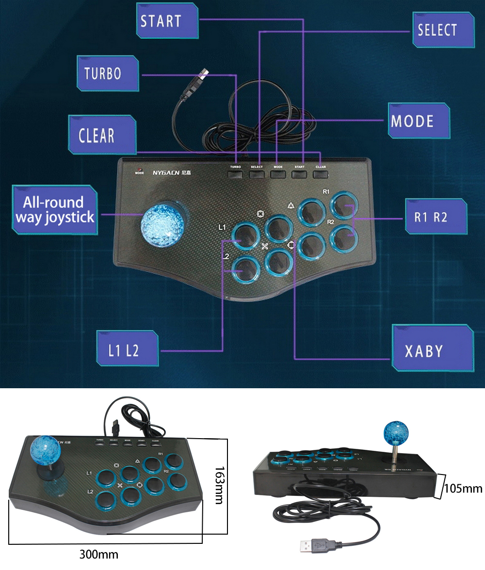 aliexpress com buy nygacn usb wired gamepads arcade fighting aliexpress com buy nygacn usb wired gamepads arcade fighting game joystick controller stick for ps3 android computer gamepad pc from reliable wired