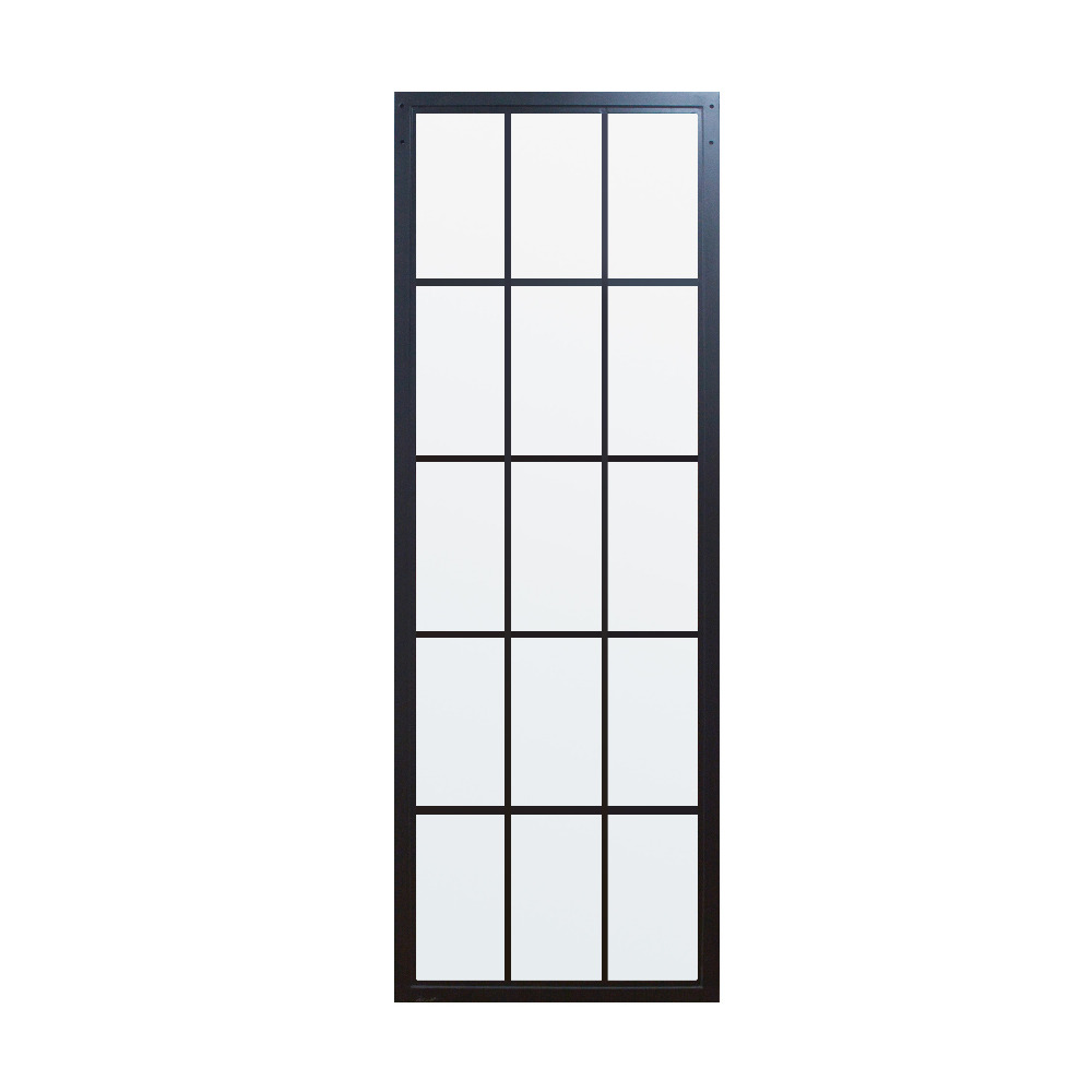 DIYHD Black Steel Framed Glass Door Panel Interior Clear Tempered Glass Sliding Barn Door Slab