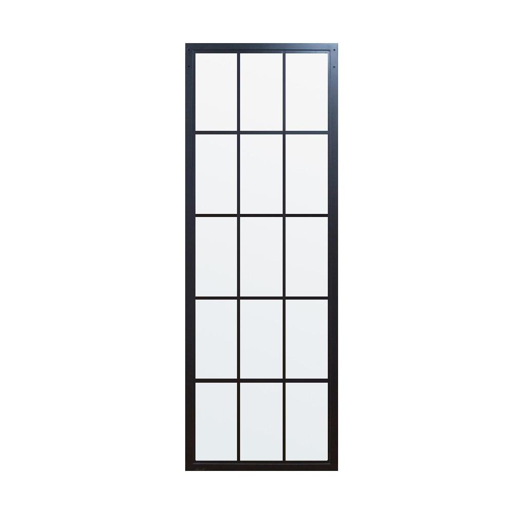 DIYHD Black Steel Framed Glass Door Panel Interior Clear Tempered Glass Sliding Barn Door Slab