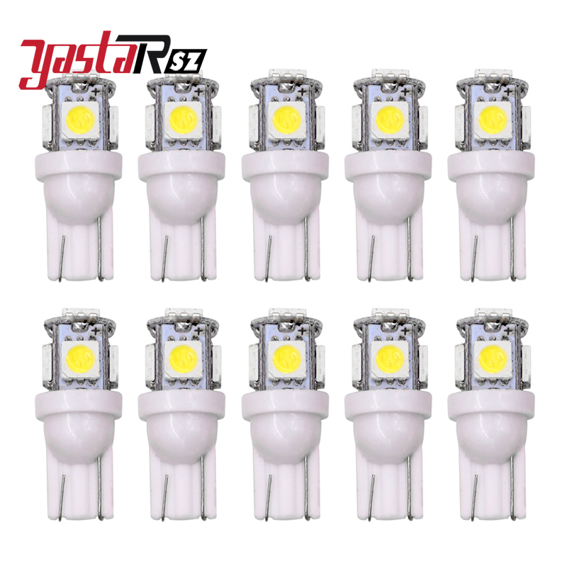 10X T10 5SMD DC 12V 1W 5050 5 SMD 192 168 194 W5W white/blue/red/green/yellow/pink Xenon LED Side Light Wedge Bulb Lamp For Car top quality t10 194 168 cob 1 led w5w wedge side light car license plate bulb lamp dc12v pink green yellow red pure white