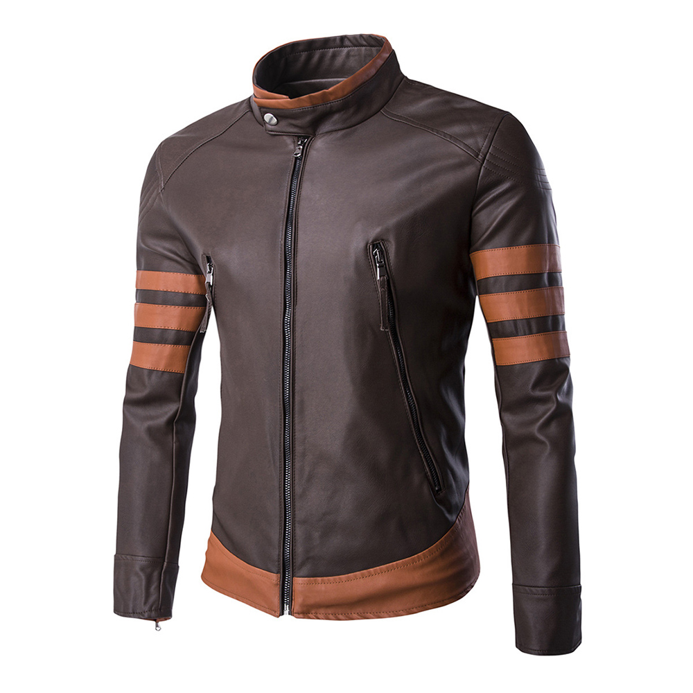 HEROBIKER Motorcycle Jackets Men Vintage Motorsiklet PU Leather Jacket Punk Windproof Classical Faux Leather Fashionable Jacket flap button embellished zip up faux leather jacket