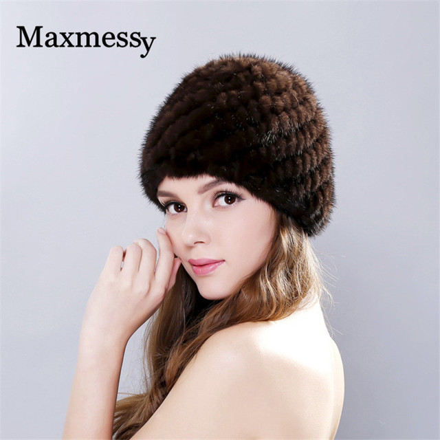 Women Genuine Fur Hats Lined Natural Winter Real Fur Cap New Fur Knitted Caps For Women Pineapple Hat Mink Fur Hat Female
