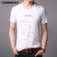 COODRONY Short Sleeve T-Shirt Men Summer Streetwear Casual Mens T-Shirts Brand T Shirt V-Neck Cotton Tee Homme S95005
