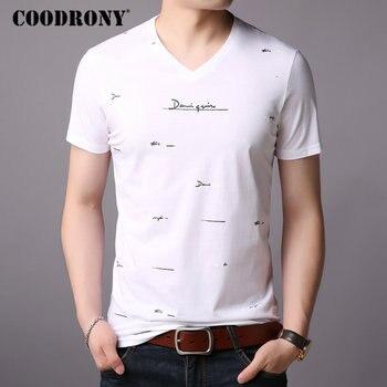 COODRONY Short Sleeve T-Shirt Men Summer Streetwear Casual Mens T-Shirts Brand T Shirt V-Neck Cotton Tee Homme S95005