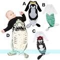 Мода мальчик девочки ребенка спальный мешок Медведь русалка акула Мало красная Шапочка Пингвин младенца спать младенца спальный мешок анти типи