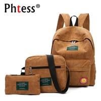 3pc S Corduroy Women Backpacks Set For Teenage Girls School Bags Shoulder Girls Bagpack Sac A