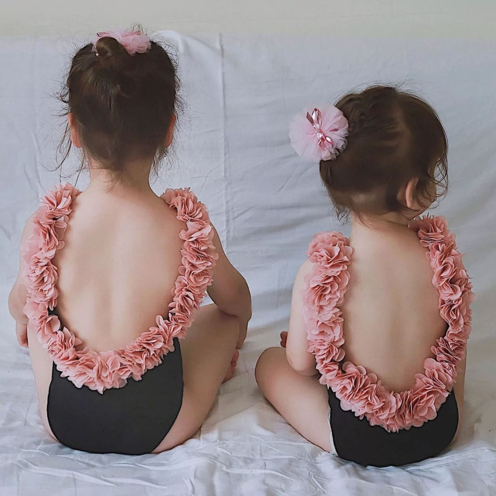 Ins Mother Daughter One-piece Swimsuits Kids girls summer Flower backless swimwear baby wholesale beach clothes