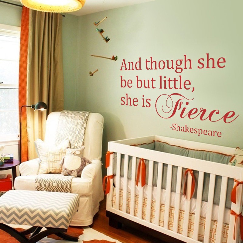 And Though She Be But Little Shakespeare Quote Decal Nursery Wall S Vinyl Baby Kids Art 58 X32 In Stickers From Home