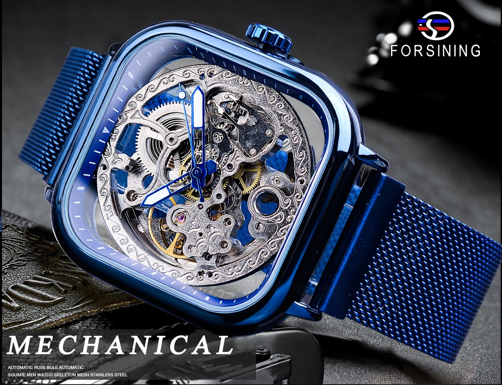 HTB1Fe9naSSD3KVjSZFKq6z10VXa1 Forsining Blue Watches For Mens Automatic Mechanical Fashion Dress Square Skeleton Wrist Watch Slim Mesh Steel Band Analog Clock
