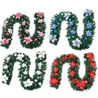 2.7m Long Christmas Decor Garland Colorful Floral Hoop Loop Rattan Garland for Christmas New Year Wedding Party DIY Supplies
