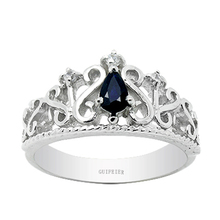 Promoción 2017 nuevo Corte de ley 925 anillo de plata de la Gota de Agua natural bule sapphire princess crown anillo para la muchacha brithday regalo