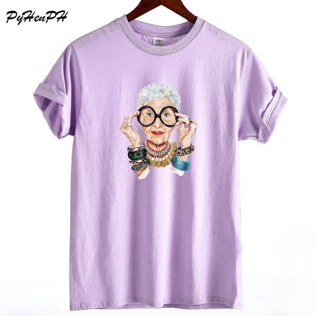 New 2018 Summer  Tumblr Fashion Old Women Print T Shirt Women Cotton O-neck Short Sleeve  Tops For Women Kawaii Tshirt 3