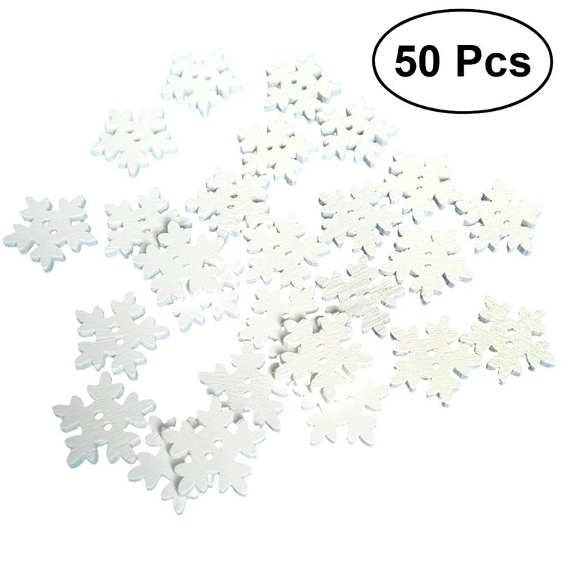 Rapture 50pcs Christmas Holiday Wooden Collection Snowflakes Buttons Snowflakes Embellishments 18mm Creative Decoration Buttons