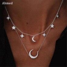 Ahmed бренд Стелла, двухслойная подвеска, стразы, ожерелье с Луной, золото, серебро, ожерелье с Луной, для женщин, фазовая звезда, ожерелье, опт