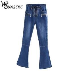 Ретро Кружево до вспышки Джинсы для женщин Для женщин Повседневное Высокая талия эластичный strench синего джинсового цвета тонкие длинные