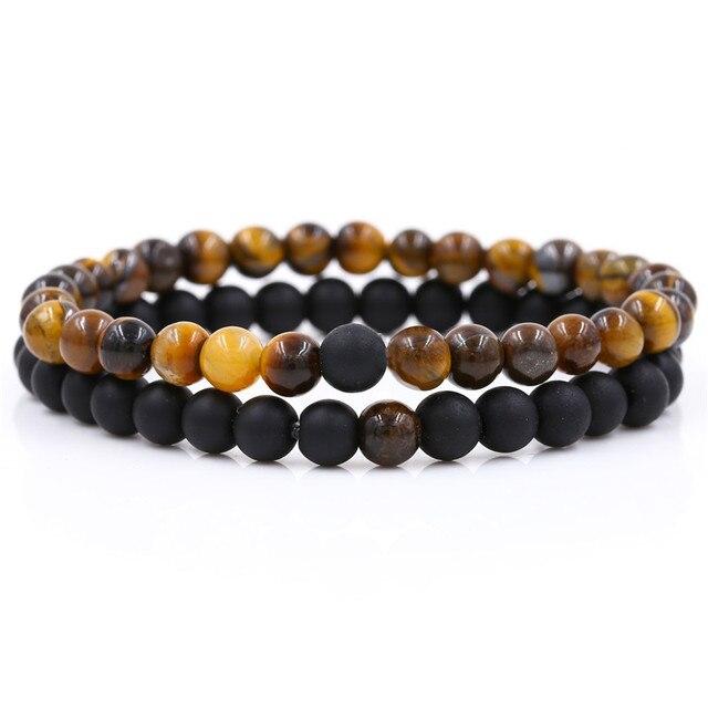 Купить комплект браслетов из натурального камня для влюбленных пар картинки