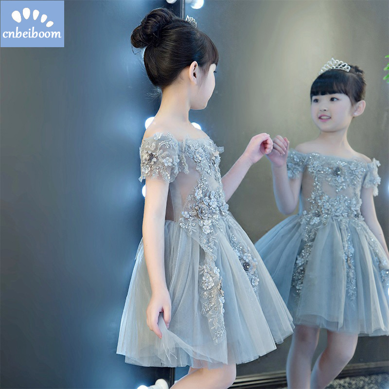 Girls dresses for party and wedding 2018 gray flower Princess Baby Girls Dress Kids Tutu Party Gown vestido children clothes dresses for girls high quality children dress long sleeve kids clothes summer dress flower girls dresses for party and wedding